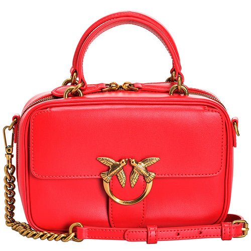 Borsa PINKO Love Mini Square Bag Simply in Pelle Rossa