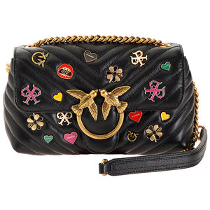 Borsa PINKO Mini Love Bag Puff V Quilt Nera