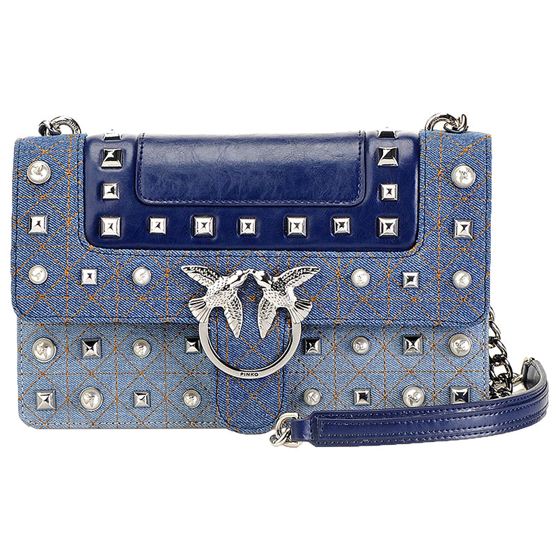 Borsa PINKO Love Jeans in Denim e Pelle con Borchie