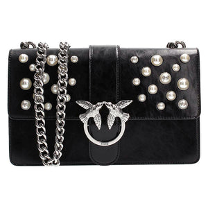 Borsa PINKO Love Leather Pearls Tracolla in Pelle Nera  9dda4e6dd5c