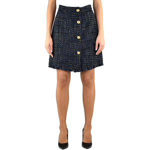 Gonna PINKO Pierfrancesco 1 in Tweed Lurex Blu Scuro