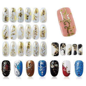 1 Set Gold 3D Nail Art Metallic Floral Decals Stickers-Nails Styling-Sour Grapes Online-Gold-
