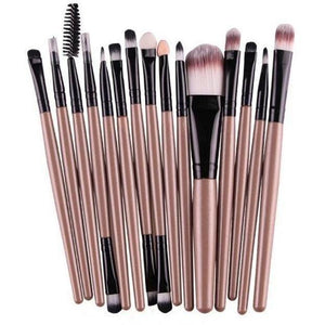 15 Pcs Pro Cosmetic Makeup Brush Pincel Maquiagem Brown Set-MakeUp Brushes-Sour Grapes Online-JB-
