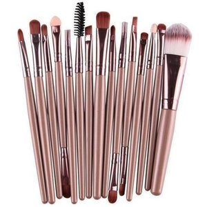 15 Pcs Pro Cosmetic Makeup Brush Pincel Maquiagem Brown Set-MakeUp Brushes-Sour Grapes Online-JC-
