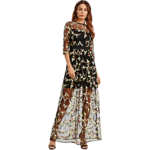 2 In 1 Mesh Overlay Floral Embroidery Black Maxi Dress-Maxi-Sour Grapes Online-Black-XS-