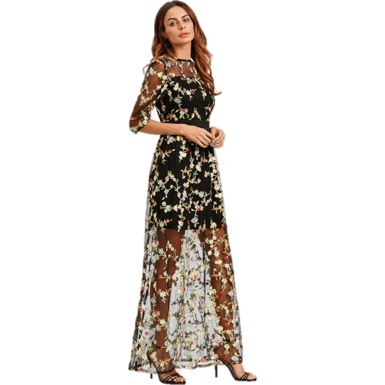 33969943 2 In 1 Mesh Overlay Floral Embroidery Black Maxi Dress-Maxi-Sour Grapes  Online