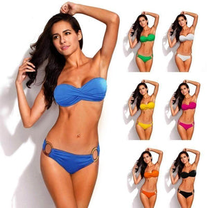 2 Piece Push Up Bandeau Strapless Ring Bikini Set - 7 colors-Swim Wear-Sour Grapes Online-Black-S-