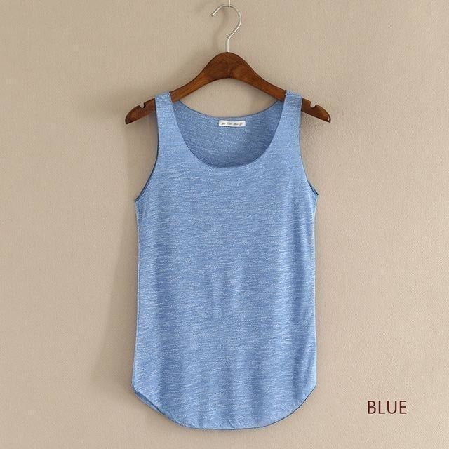 2016 summer Fitness Tank Top New T Shirt Plus Size Loose Model Women T-shirt Cotton O-neck Slim Tops Fashion Woman Clothes-Top-Sour Grapes Online-Blue-One Size-