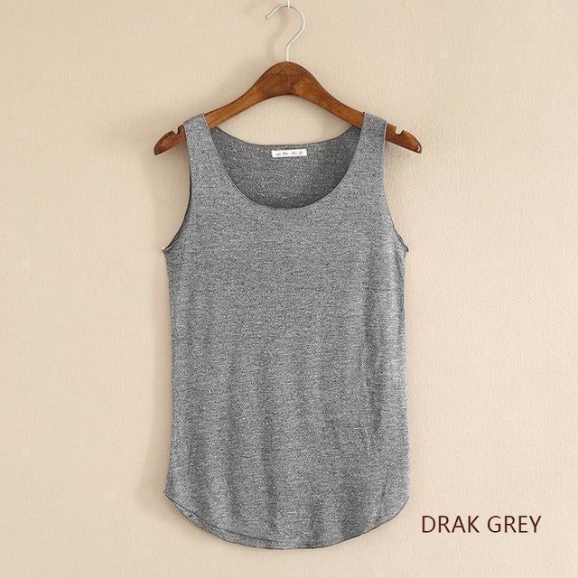 2016 summer Fitness Tank Top New T Shirt Plus Size Loose Model Women T-shirt Cotton O-neck Slim Tops Fashion Woman Clothes-Top-Sour Grapes Online-Dark gray-One Size-