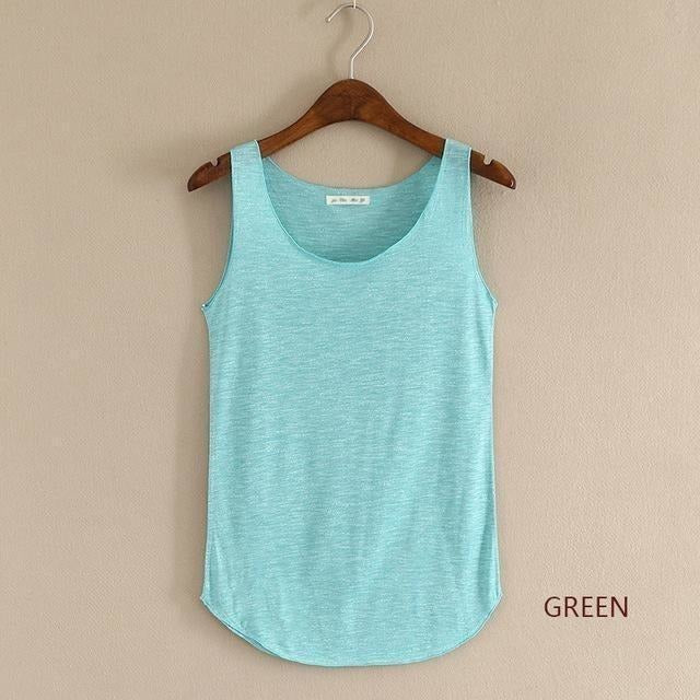 2016 summer Fitness Tank Top New T Shirt Plus Size Loose Model Women T-shirt Cotton O-neck Slim Tops Fashion Woman Clothes-Top-Sour Grapes Online-green-One Size-