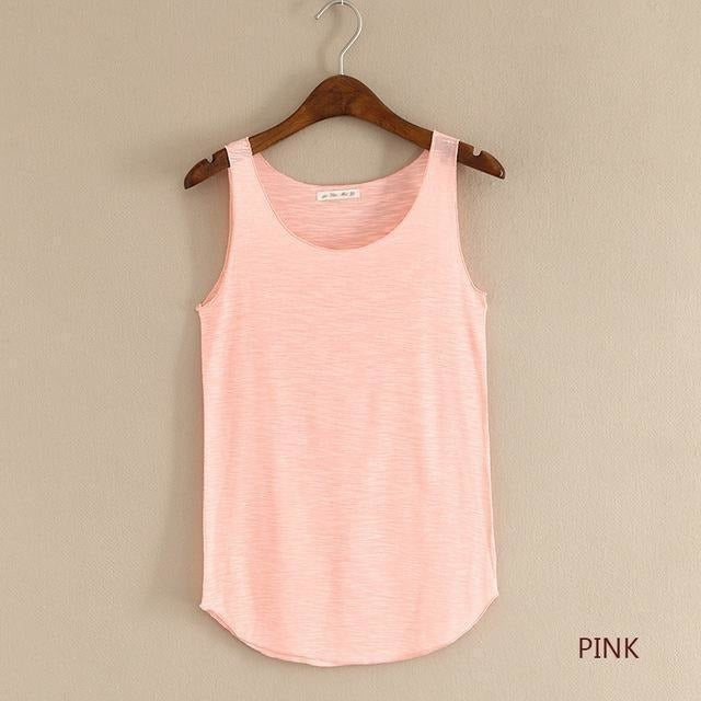 2016 summer Fitness Tank Top New T Shirt Plus Size Loose Model Women T-shirt Cotton O-neck Slim Tops Fashion Woman Clothes-Top-Sour Grapes Online-pink-One Size-