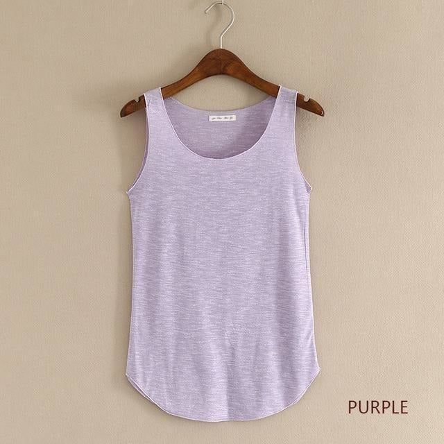 2016 summer Fitness Tank Top New T Shirt Plus Size Loose Model Women T-shirt Cotton O-neck Slim Tops Fashion Woman Clothes-Top-Sour Grapes Online-purple-One Size-