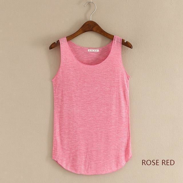 2016 summer Fitness Tank Top New T Shirt Plus Size Loose Model Women T-shirt Cotton O-neck Slim Tops Fashion Woman Clothes-Top-Sour Grapes Online-rose red-One Size-