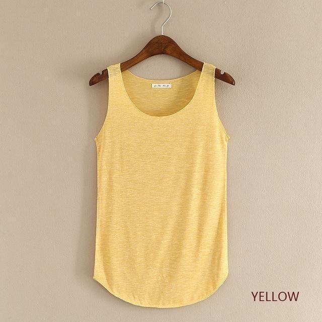 2016 summer Fitness Tank Top New T Shirt Plus Size Loose Model Women T-shirt Cotton O-neck Slim Tops Fashion Woman Clothes-Top-Sour Grapes Online-yellow-One Size-