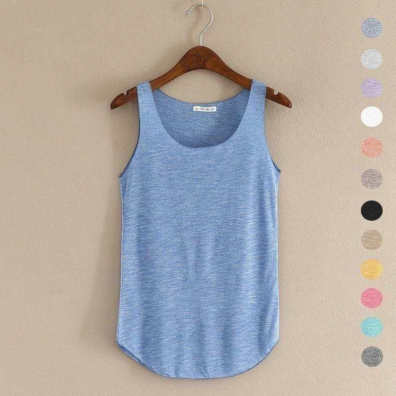 2016 summer Fitness Tank Top New T Shirt Plus Size Loose Model Women T-shirt Cotton O-neck Slim Tops Fashion Woman Clothes-Top-Sour Grapes Online-Apricot-One Size-