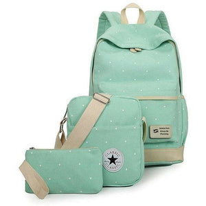 3 Pc Canvas High Quality Women Backpack Set-Backpack-Sour Grapes Online-Mint Green-