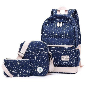 3 Pc Fashion Stars Print Cute Canvas Backpack Set - 8 colors-Backpack-Sour Grapes Online-Dark Blue-L28cm W15cm H45cm-