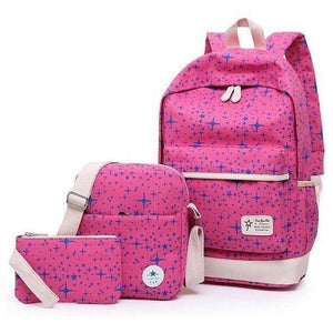 3 Pc Fashion Stars Print Cute Canvas Backpack Set - 8 colors-Backpack-Sour Grapes Online-Rose Red-L28cm W15cm H45cm-