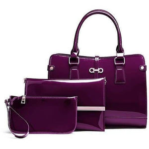 3 Pcs Luxury Patent Leather Designer Handbag Set-Handbag-Sour Grapes Online-Purple-