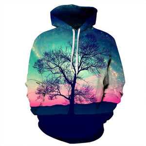 3D Print Christmas Halloween Nature Theme Pullover Hoodies-Pullover-Sour Grapes Online-LightGreen-S-