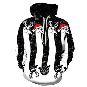 3D Print Christmas Halloween Striped Theme Pullover Hoodies-Pullover-Sour Grapes Online-White-2XL-