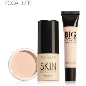 3Pcs Face Makeup Set with Concealer Cream Foundation Cream and Setting Powder-Face Styling-Sour Grapes Online-ALABASTER-