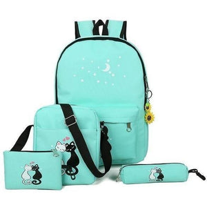 5 Pc Women Cute Cat Print Canvas Backpack Shoulder Bags Set-Backpack-Sour Grapes Online-Green-28 x 42 x 13 cm-