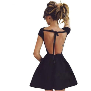 A-Line Princess Backless Midi Cocktail Black Bandage Party Dress-Dress-Sour Grapes Online-Black-S-