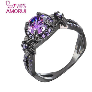 Alloy Black Cubic Zirconia Ring-Rings-Sour Grapes Online-10-Purple-