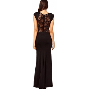 Backless Lace Split High Side Slit Robe Maxi Black Dress-Maxi-Sour Grapes Online-Black-S-