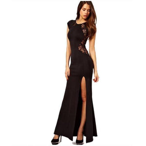 Backless Lace Split High Side Slit Robe Maxi Black Dress-Maxi-Sour Grapes Online-Black-L-