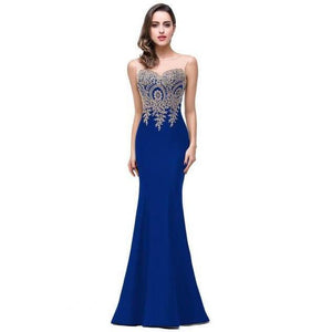 Backless Mermaid Long Bridesmaid Wedding Homecoming Prom Dresses - 7 colors-Dress-Sour Grapes Online-Royal Blue-2-