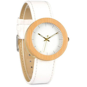 Bamboo Wood Quartz Watch w/ Genuine Leather Band-Watch-Sour Grapes Online-White-