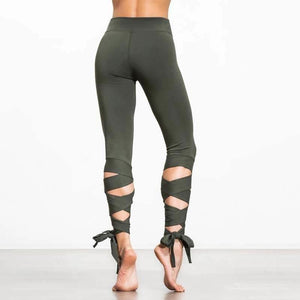 Bandage Cropped Ballerina Yoga Pants Fitness Leggings-Legging-Sour Grapes Online-Green-L-