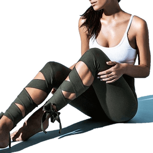 Bandage Cropped Ballerina Yoga Pants Fitness Leggings-Legging-Sour Grapes Online-Green-S-