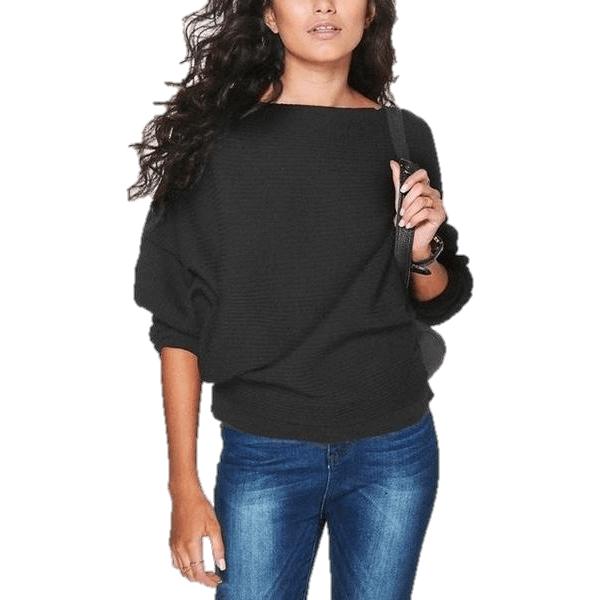 Bat wing Sleeve Knit Fashion Women Pullover Sweater-Pullover-Sour Grapes Online-Black-S-