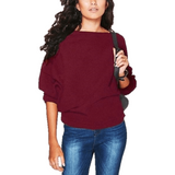 Bat wing Sleeve Knit Fashion Women Pullover Sweater-Pullover-Sour Grapes Online-DarkRed-S-