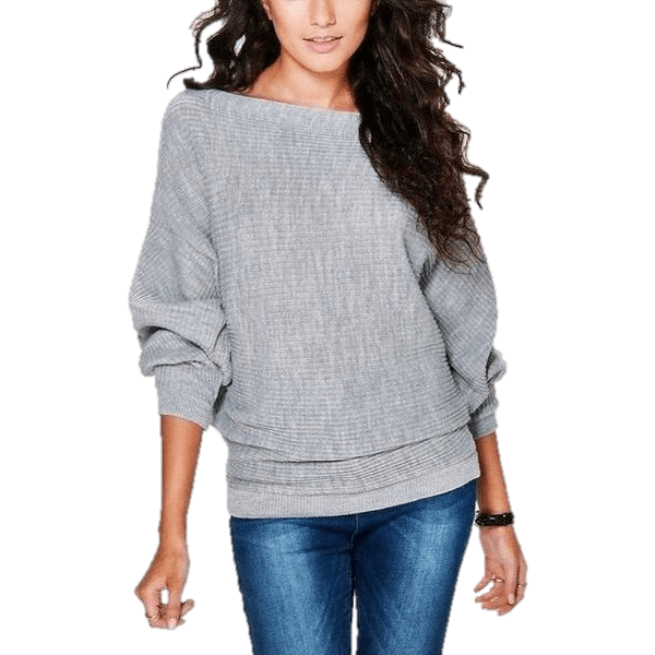 Bat wing Sleeve Knit Fashion Women Pullover Sweater-Pullover-Sour Grapes Online-Grey-S-