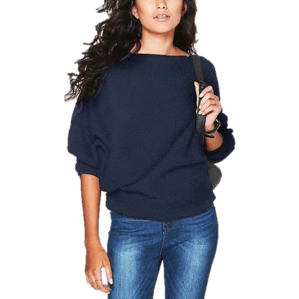 Bat wing Sleeve Knit Fashion Women Pullover Sweater-Pullover-Sour Grapes Online-Navy-S-