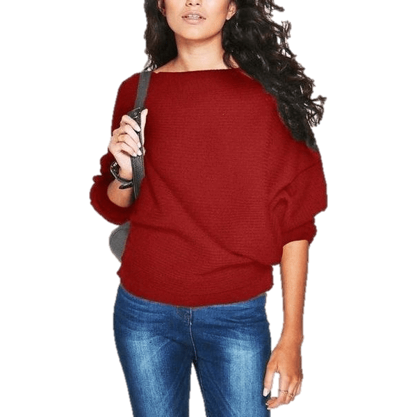 Bat wing Sleeve Knit Fashion Women Pullover Sweater-Pullover-Sour Grapes Online-Red-S-