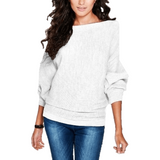 Bat wing Sleeve Knit Fashion Women Pullover Sweater-Pullover-Sour Grapes Online-White-S-