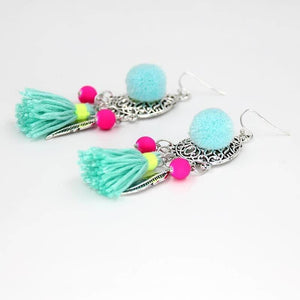 Beach Fashion Bohemian Drop Tassel Hanging Earrings-Jewellery-Sour Grapes Online-MediumTurquoise-