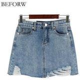 BEFORW Summer Jeans Skirt Women High Waist Jupe Irregular Edges Denim Skirts Women Mini Saia Washed Faldas Casual Pencil Skirt-Skirt-Sour Grapes Online-Photo Color-L-