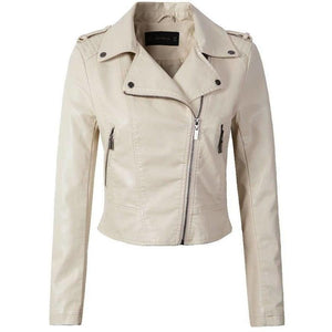 Beige Outerwear Leather Coat with Zipper Women Moto Jacket-Jackets-Sour Grapes Online-Beige-S-