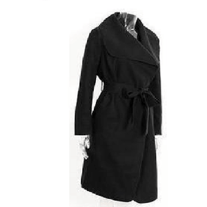 Black Color Ruffle Winter Long Turndown Collar Over Coat-Coat-Sour Grapes Online-Black-S-