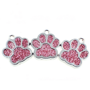 Bling Dark Colored Enamel Cat/Dog/Bear Paw Print Key rings-Accessories-Sour Grapes Online-PaleVioletRed-