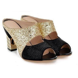Bling Glitter Peep Toe Wedges Square heels Women Pumps-Pumps-Sour Grapes Online-Black-3-