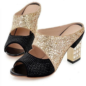 Bling Glitter Peep Toe Wedges Square heels Women Pumps-Pumps-Sour Grapes Online-Black-4-