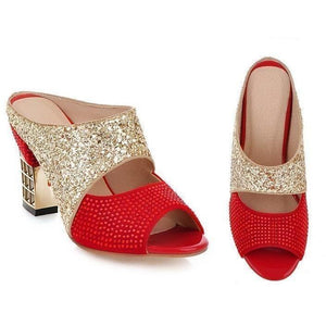 Bling Glitter Peep Toe Wedges Square heels Women Pumps-Pumps-Sour Grapes Online-Red-4-