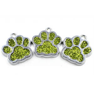 Bling Pastel Colored Enamel DIY Cat/Dog/Bear Paw Print Key rings-Accessories-Sour Grapes Online-DarkOliveGreen-